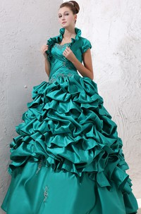 Captivating Crisscross Ruching Ruffles Strapless Ball Gown
