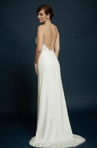 Spaghetti-strap Sheath Backless Wedding Dress With Sweep Train