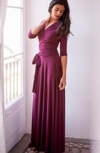 Floor-length Long Sleeve Jersey&Satin Dress