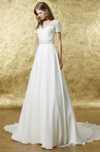 A-line V-neck Short Sleeve Wedding Dress With Illusion And Lace