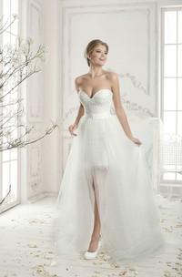 Strapless Sweetheart Mini Lace Sheath Dress