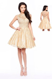 A-Line Short High Neck Cap-Sleeve Lace Illusion Dress With Appliques