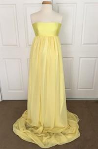 A-line Strapless Ruched Sleeveless Brush Train Satin Chiffon Maternity Dress