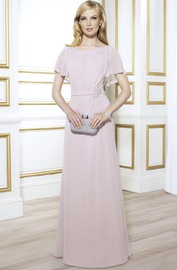 Bateau Short Sleeve Jersey Mother of the Bride Dress With Low-V Back