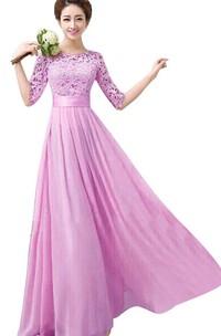 Bateau Half Sleeve Floor-length Dress With Lace top