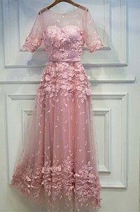 A-line Floor-length Scoop Illusion Half Sleeve Lace Dress with Pleats