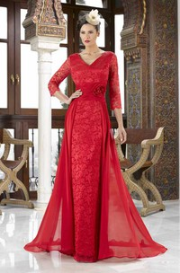 Lace Plunged 3-4-sleeve Pencil long Dress With Flower