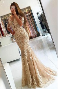 Short-Sleeve Appliqued Floor-Length Fishtail Lace Dress