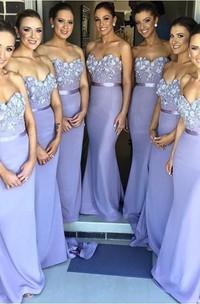 Trumpet Appliqued Sweetheart Sassy Bridesmaid Dress
