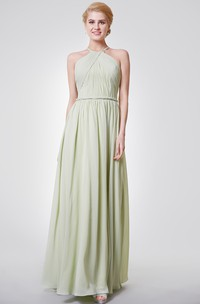 High Neck Sleeveless Chiffon Ruched long Bridesmaid Dress