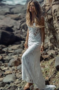 Spaghetti Lace  Sleeveless Wedding Gown