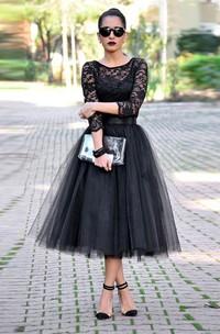 Lace Tulle Tea-Length Prom Black Sassy 3-4-Sleeve Dress