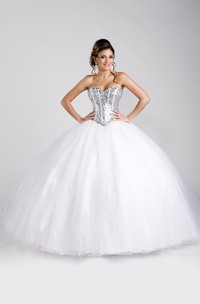 Sequined Lace-Up Back Lace-Up Sweetheart Strapless Ball Gown