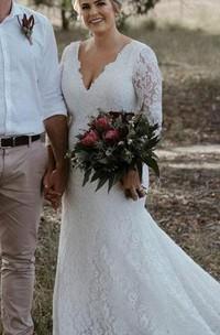 Bohemian V-neck Mermaid Lace Floor-length Court Train Zipper Wedding Dress