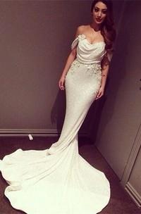 Glitz Off-the-Shoulder Sequins Prom Dresses 2018 Mermaid Floor Length