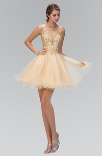 A-Line Ruffled Jeweled Short Mini Sleeveless Bateau Tulle Dress