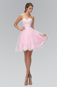 A-Line Jeweled Mini Sweetheart Sleeveless Strapless Tulle Dress