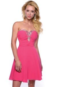 Short Chiffon Sweetheart Homecoming Dress With Trim Rhinestones And Ruching