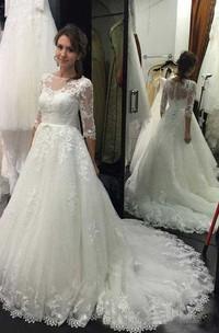 Bateau Lace Tulle Illusion 3/4 Length Sleeve Wedding Dress