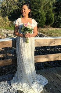 Country Queen Anne Short Sleeve Lace Pleated Maternity Wedding Dress