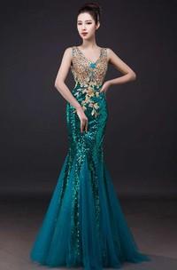 Mermaid Floor-length V-neck Sleeveless Tulle Dress with Appliques
