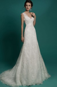 V-Neckline Illusion Floor-Length Fishtail Lace Sleeveless Gown