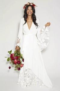 Simple Bohemian Long Sleeves Deep V Neck Hippie Beach Wedding Gown