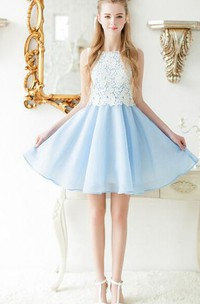Bateau Sleeveless short A-line Dress With Lace top