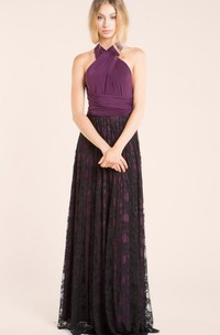 Haltered Sleeveless Pleated Floor-length Lace Dress With bow