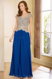 Two-tone Cap-sleeve V-neck Mother of the Bride Dress With Lace top