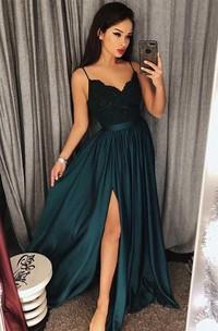 V-neck Satin Lace Sleeveless Floor-length Lace Pleats Split Front Dress