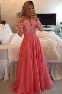 Beaded Lace V-Neckline A-Line Chiffon Dress