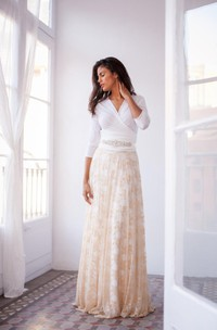Golden Long-Sleeve Vintage Lace Gown