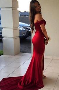 Fishtail Es Front-Slit Off-The-Shoulder Modern Formal Gown