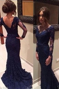 Formal Fishtail Train Long-Sleeve Gorgeous Gown
