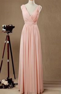 Plunged Sleeveless Floor-length Chiffon Dress With Pleats