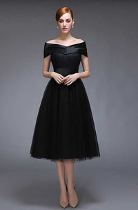 A-line Knee-length V-neck Cap Short Sleeve Tulle Dress with Pleats