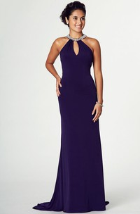 Sleeveless Jersey Prom Dress With jeweled neckline