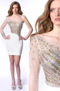 Short Sheath One-Shoulder Jersey Homecoming Dress With Gemstone Embellishment