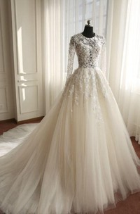 Jewel Zipper Tulle Long-Sleeve A-Line Keyhole Floral Dress