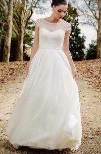 Vintage Bateau A Line Lace Chiffon Floor-length Deep-V Back Wedding Dress with Ribbon