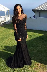 Mermaid Long Sleeve Floor-length Sweep Brush Train High Neck Lace Evening Dress with Zipper Back