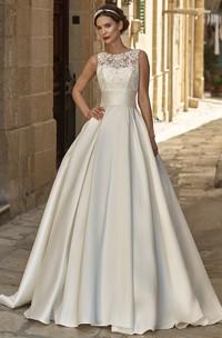 A-line Satin Jewel Neckline Sleeveless Wedding Dress With Illusion And Court Train
