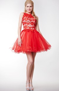 Jewel-Neck Sleeveless short A-line Ruffled Dress With Appliques