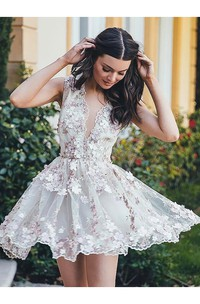 Sleeveless A-line Short Mini Plunging Neckline V-neck Appliques Flower Pleats Lace Homecoming Dress