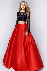 Scoop-neck Long Sleeve Illusion A-line Satin Two Piece Prom Dress