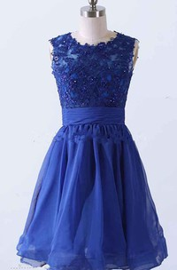 Short A-line Dress With Appliques And Keyhole Back