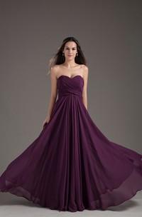 Sweetheart Lace-Up Back Pleats Criss-Cross Chiffon Dress