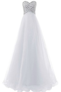 Sweetheart Crystal Stone Long Layered Tulle Dress