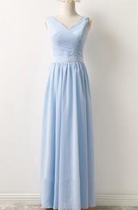 V-neck Sleeveless Floor-length Chiffon Bridesmaid Dress With Zipper